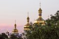 View on the ivening kiev pechersk lavra in kiev general of ukraine Royalty Free Stock Photos