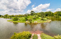 Summer Landscape on sunny day of Japanese Island in Chicago Botanic Garden. Royalty Free Stock Photo