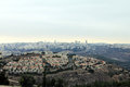 View of jerusalem from mount of prophet samuel at the evening dark time Stock Photo