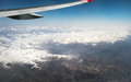 View of jet plane wing Royalty Free Stock Photo