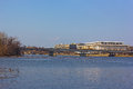 A view on John F. Kennedy Center for the Performing Arts in US capital from the Potomac River bank. Royalty Free Stock Photo