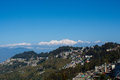 View of kanchenjunga mountain and tea gardens of Darjeeling India Royalty Free Stock Photo