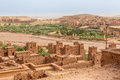 View from Kasbah Ait Benhaddou to valley with Ksars - Morocco