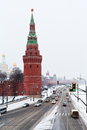 View of Kremlin Embankment in winter snowing day Stock Images