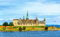 View of Kronborg Castle from Oresund strait - Denmark Royalty Free Stock Photo