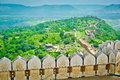 View from kumbhalgarh fort ramparts rajasthan india Royalty Free Stock Image
