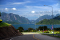 View of lake cheo lan lake along the way khao sok national park thailand Stock Photography