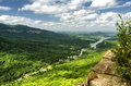 View at lake lure in north carolina from chimney rock mountain Royalty Free Stock Photography