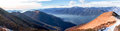 View of the lake maggiore gambarogno switzerland trail mount gambarogno and views mountains and Stock Photo
