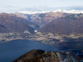 View of the lake maggiore gambarogno switzerland trail mount gambarogno and views mountains and Royalty Free Stock Photos