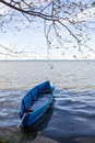 View of lake Pleshcheyevo and fishing boats after the storm. Autumn. Pereslavl-Zalessky. Russia. Royalty Free Stock Photo