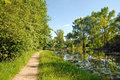 View lake walking path wilanow near warsaw royal park around Royalty Free Stock Images