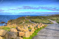 View of Lands End Cornwall Penwith peninsula in HDR Royalty Free Stock Photo