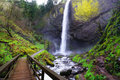 A view of Latourell Falls at Columbia river gorge Royalty Free Stock Photo