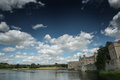 View of leeds castle kent england and moat cloudy sky Stock Photo