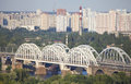 View at the left bank of the dnieper in kiev cityscape residential district on Royalty Free Stock Images
