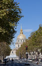 View of les invalides on october in paris france les invalides the architectural monument which construction was begun by order of Royalty Free Stock Photo