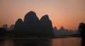 View of li river at xingping sunset Royalty Free Stock Photography