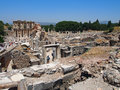 View of the library of celsus ephesus turkey in roman city in modern Royalty Free Stock Photography