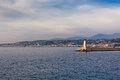 View on lighthouse and quay of nice france french riviera Royalty Free Stock Photos