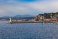 View on lighthouse and quay of nice france french riviera Stock Images