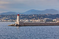 View on lighthouse and quay of nice france french riviera Royalty Free Stock Images