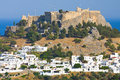 View at lindos rhodes island greece Royalty Free Stock Image