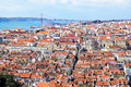 View of Lisbon with bridge in the background Royalty Free Stock Photo