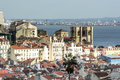 View of lisbon with the tagus river in background Stock Photos