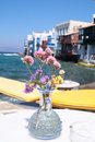 A view of little venice in mykonos island greece Stock Images