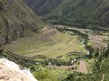 View of llaqtapata archeological site in the inca trail to machu picchu – peru Royalty Free Stock Photo