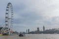 View on the London Eye, Houses of Parliament, Big Ben and Thames River, London, United Kingdom Royalty Free Stock Photo