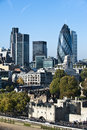 View of London Tower and The Gherkin Royalty Free Stock Images