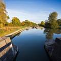 View looking down Hatton Flight of locks Stock Images