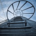 View Looking up the Steps of a Grain Bin Royalty Free Stock Photo