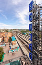 View from the lookout of samara rail terminal russia may in may in russia station was built in height with a Stock Photo