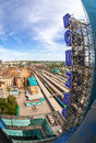 View from the lookout of samara rail terminal russia may in may in russia station was built in height with a Stock Photography