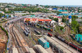 View from the lookout of samara rail terminal russia may in may in russia station was built in height with a Stock Photos