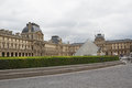 View Louvre building of Louvre Museum and Pyramid