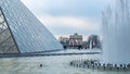 View of the Louvre pyramid in Paris