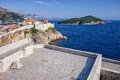 View from the lovrijenac fortress on the old town of dubrovnik adriatic sea and lokrum island in croatia dalmatia region Royalty Free Stock Images