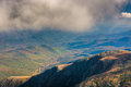 View of low clouds over distant mountains from Mount Washington, Royalty Free Stock Photo