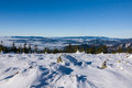 View of a low clouds on winter mountain ridge jeseniky mountains czech republic Stock Photos