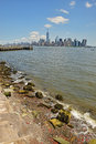 stock image of  View of Lower Manhattan from Liberty Island