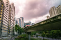 View of LRT train serving public residential housing apartments in Bukit Panjang. Royalty Free Stock Photo