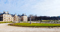 View of luxembourg palace in paris in early spring france march panorama and gardens on march jardin du is the second largest Royalty Free Stock Photography
