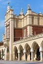 View of main market square with renaissance sukiennice in cracow in poland krakow Royalty Free Stock Image