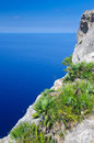 View for majorca hill vertical tropical cliffs Stock Photos