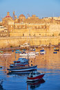 View on Malta bay between Kalkara and Birgu at early morning Royalty Free Stock Photo
