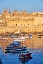 View on Malta bay between Kalkara and Birgu at early morning Royalty Free Stock Photo